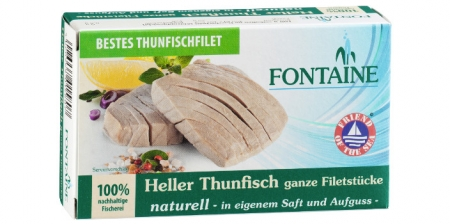 Thunfisch naturell, ganze Filetstücke, Fontaine, 120 g